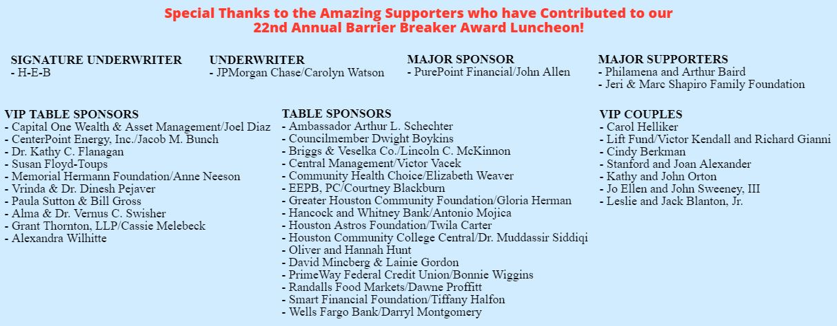 22nd Barrier Breaker Award Luncheon Supporters